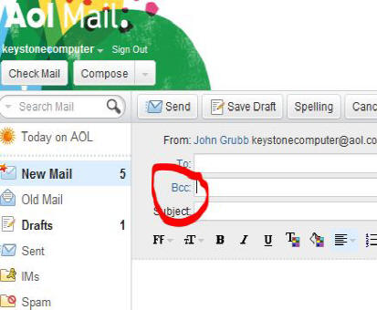 how to find the bcc in an email
